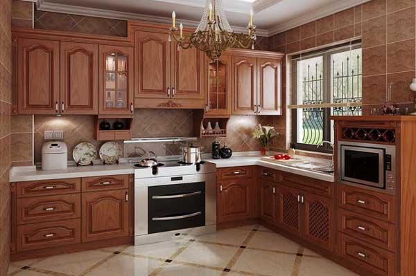 Tủ bếp gỗ gõ đỏ b