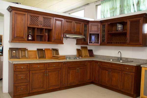 Tủ bếp gỗ gõ đỏ c