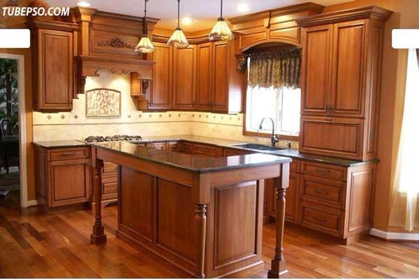 Tủ bếp gỗ gõ đỏ e