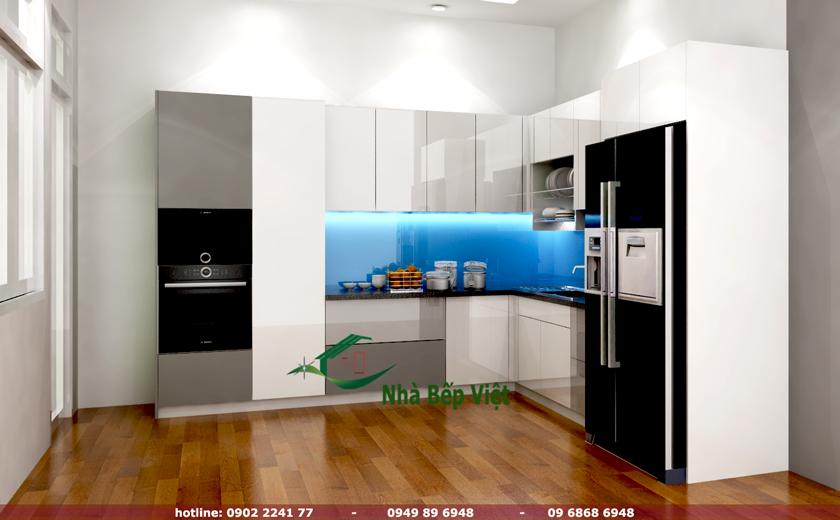 Tủ bếp nhựa Picomat phủ Acrylic nhà chị Quế (Quận 7)