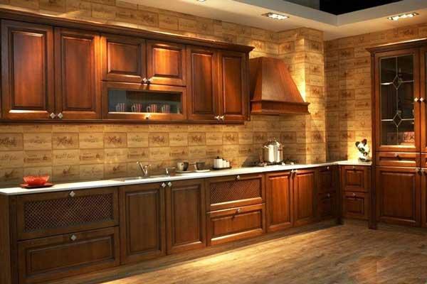 Tủ bếp gỗ gõ đỏ a