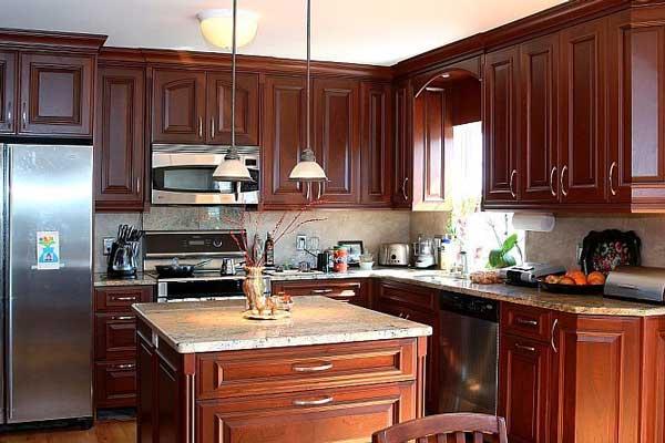 Tủ bếp gỗ gõ đỏ g