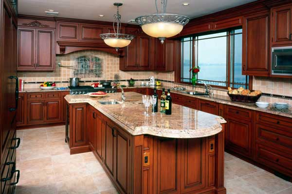 Tủ bếp gỗ gõ đỏ i
