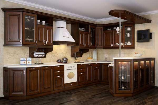 Tủ bếp gỗ walnut b