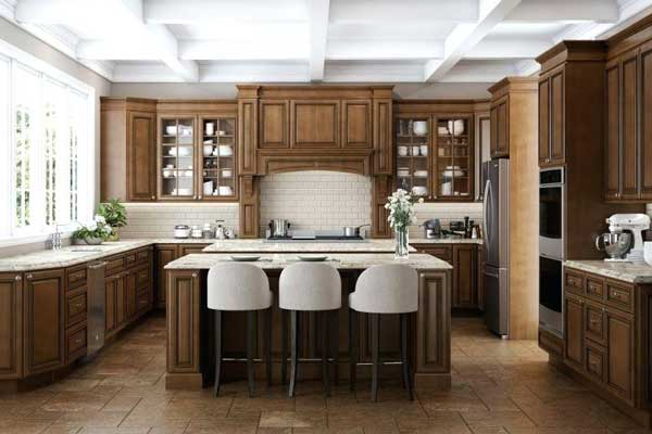 Tủ bếp gỗ walnut k