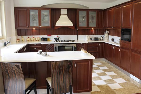 Tủ bếp gỗ xoan đào b