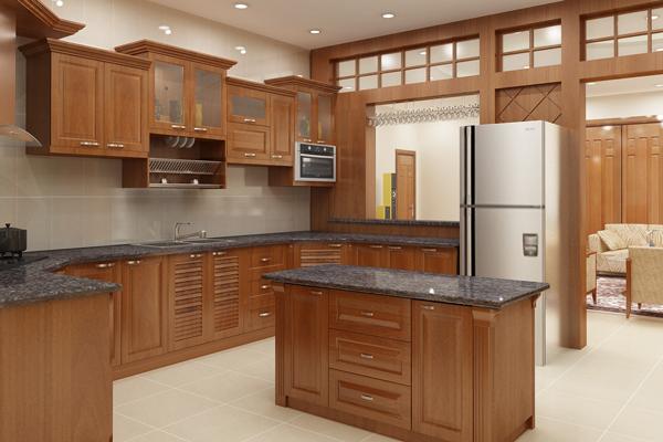 Tủ bếp gỗ xoan đào d