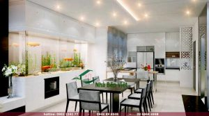 Các kiểu nhà bếp đẹp và tiện dụng được ưa chuộng nhất hiện nay Thẻ mô tả: Nhà bếp luôn là không gian được sử dụng rất nhiều trong cuộc sống hàng ngày. Liệu bạn đã lựa chọn được một trong các kiểu nhà bếp đẹp cho gia đình mình hay chưa? Không gian nhà bếp trong mỗi gia đình luôn đòi hỏi phải có sự tính toàn khoa học, tỉ mỉ nhằm đảm bảo tính ngăn nắp gọn gàng cho nội thất cũng như các dụng cụ trong nhà bếp. Hơn thế nữa, việc lựa chọn các kiểu nhà bếp đẹp trong xã hội hiện đại cần đảm bảo tính thẩm mỹ, phù hợp với sở thích của chủ nhà cũng như sự hài hòa với không gian phòng khách, phòng ngủ và kết cầu của ngôi nhà. Cùng tham khảo những thiết kế nhà bếp đẹp sau đây để có sự lựa chọn phong phú hơn cho không gian bếp nhà bạn. Kiểu nhà bếp trẻ trung hiện đại cho gia chủ Các kiểu nhà bếp đẹp với phong cách trẻ trung hiện đại: Hiện đại luôn là nét thẩm mỹ được ưu tiên trong những thiết kế nhà ở ngày nay bởi tính khoa học mà kiểu mẫu này mang lại. Chính vì thế, xu hướng thiết kế trẻ trung hiện đại đang là một trong các kiểu nhà bếp đẹp được lựa chọn rất nhiều hiện nay. Phong cách trẻ trung hiện đại cho nhà bếp của bạn Với phong cách thiết kế nhà bếp này, màu sắc chủ đạo được sử dụng thường là màu trắng tinh khiết nhằm mở rộng không gian, biến nội thất bên trong phòng trở nên tinh tế và nhẹ nhàng hơn. Tuy nhiên, đối với một số khu vực thường xuyên tiếp xúc với các dụng cụ nấu nướng, các nguyên liệu nấu ăn như dầu mỡ khói bụi thì việc kết hợp với các màu sắc như đen hay nâu sẽ vừa tạo được điểm nhấn, vừa giữ gìn được nét sạch sẽ lịch sự cho phòng bếp. Bởi lẽ, một màu trắng đơn điệu nhiều khi sẽ mang đến cảm giác nhạt nhòa cho căn phòng. Điểm nhấn quan trọng của kiểu nhà bếp hiện đại chính là đảo bếp với không gian được bố trí tập trung và một phần diện tích bếp được sử dụng giành cho một khu chuẩn bị thực phẩm và bày biện thức ăn sau khi chế biến. Chất liệu gỗ được ưu tiên lựa chọn nhằm tôn lên vẻ lich sự trang nhã và sang trọng trong lỗi thiết kế trẻ trung hiện đại mà bạn và 