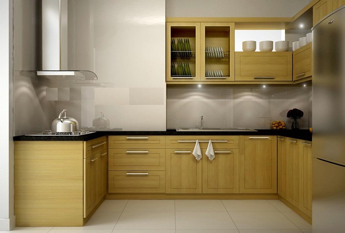 tủ bếp inox cánh gỗ
