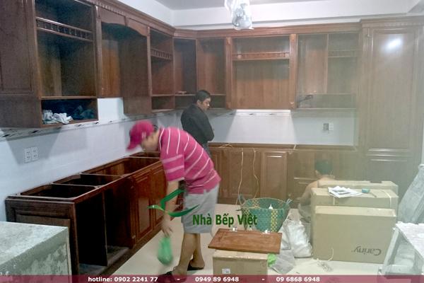 thi công tủ bếp gỗ