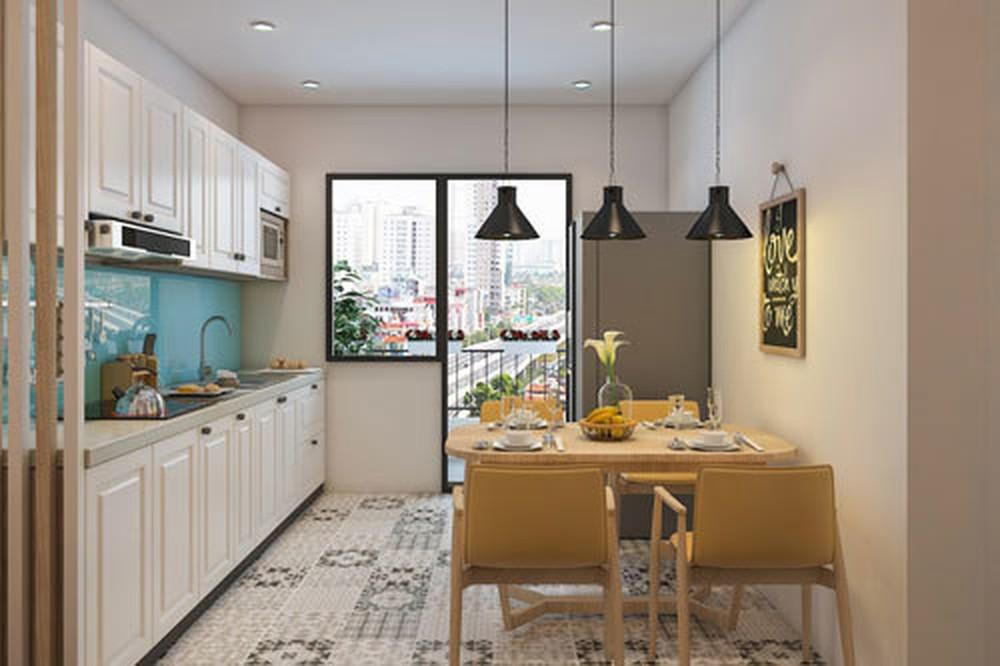 Mẫu không gian bếp nhỏ tích hợp thêm phòng ăn hiện đại, tiện nghi