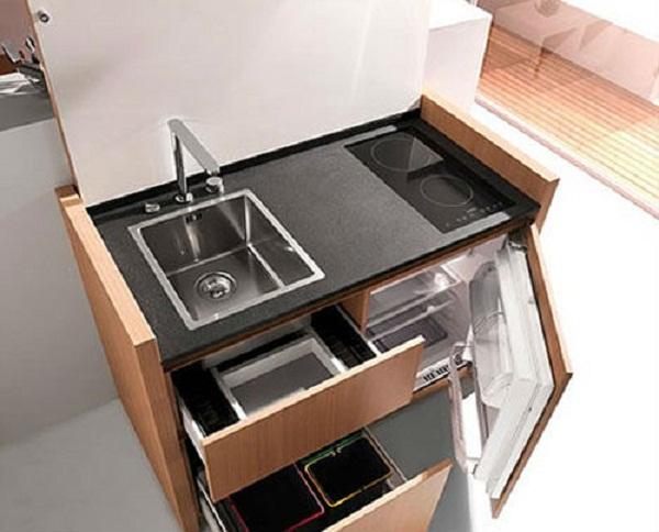Chiếc tủ bếp đẹp tích hợp với bếp điện từ âm