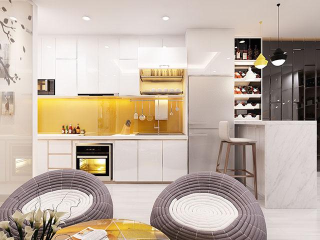 Phòng bếp nhỏ đẹp với sắc trắng chủ đạo
