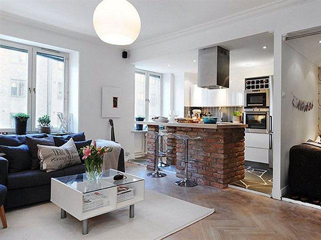 Phòng bếp nhỏ đẹp với không gian mở