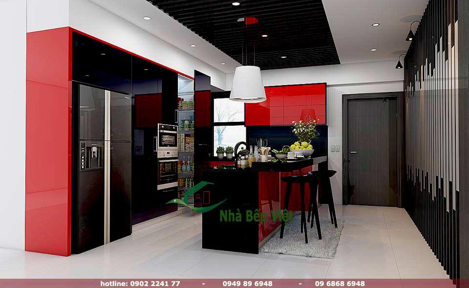 Thiết kế tủ bếp acrylic chữ L kèm tủ kho giúp cất giữ mọi đồ đạc trong không gian bếp một cách gọn gàng