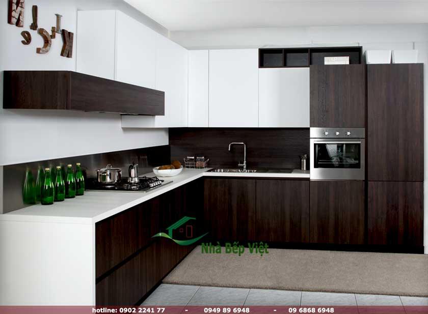 Mẫu tủ bếp đẹp hình chữ L Arylic được yêu thích nhất 2019